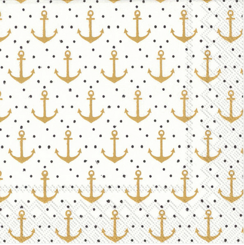 ANCHOR DOTS PAPER COCKTAIL NAPKINS