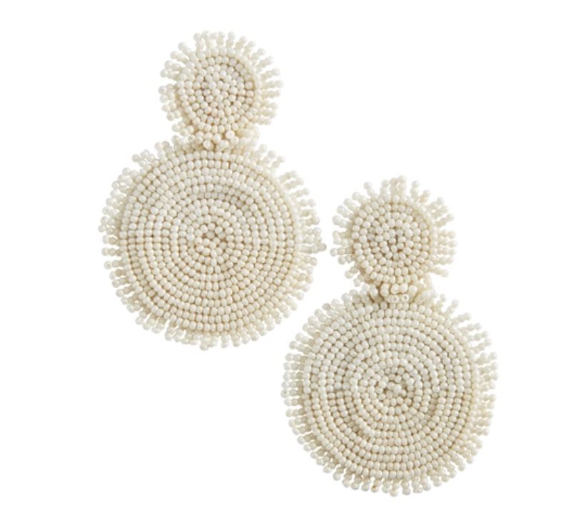 TONAL BEADED EARRINGS CREAM