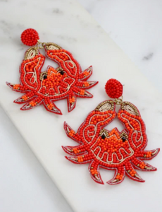 CARTER CRAB BEADED EARRING RED