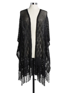 CROCHET DUSTER BLACK