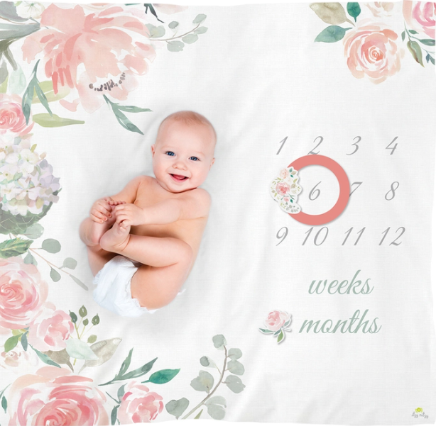 CUTIE CAPTURES FLORAL MILESTONE BLANKET SET