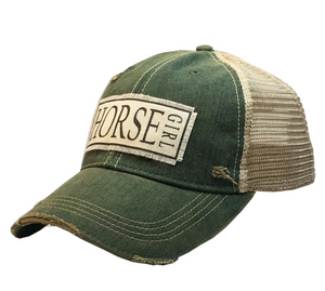 HORSE GIRL DISTRESSED TRUCKER CAP BASEBALL CAP