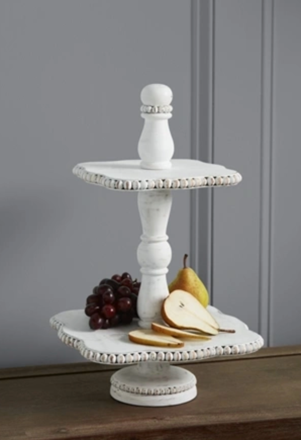 WHITE BEADED TIERED SERVER