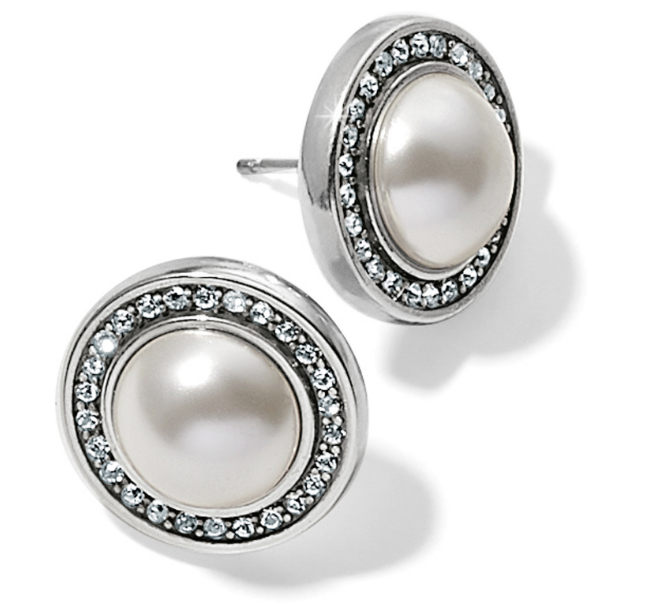 BRIGHTON CHARA ELLIPSE PEARL POST EARRINGS