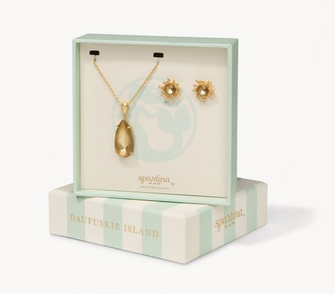 SPARTINA MERMAID GLASS BOXED SET GILDED GOLD