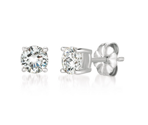 CRISLU SOLITAIRE BRILLIANT EARRINGS FINISHED IN PURE PLATINUM- 1.0 CARAT