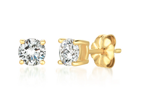 CRISLU SOLITAIRE BRILLIANT EARRINGS FINISHED IN 18KT GOLD- 1.0 CARAT