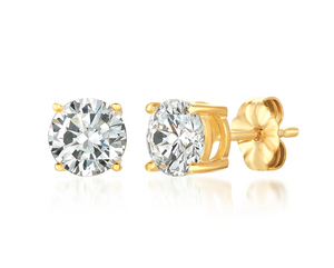 CRISLU SOLITAIRE BRILLIANT EARRINGS FINISHED IN 18K GOLD- 2.0 CARAT