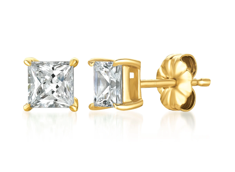 CRISLU SOLITAIRE PRINCESS EARRINGS FINISHED IN 18K GOLD- 1.5 CARAT