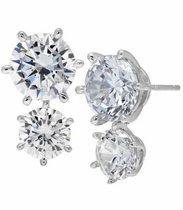 CRISLU DOUBLE BRILLIANT STUD EARRINGS FINISHED IN PURE PLATINUM- 7.50 CARAT