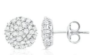 CRISLU ROUND GLISTEN STUD EARRINGS FINISHED IN PURE PLATINUM- 0.85 CARAT
