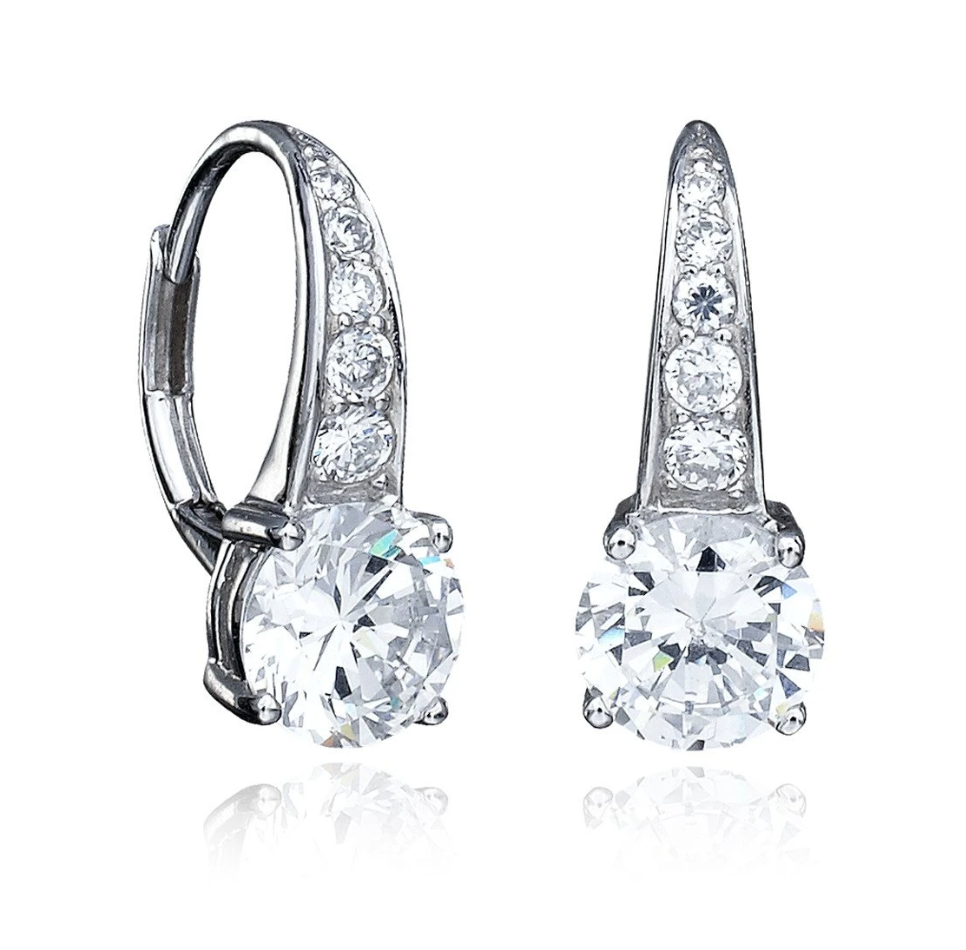 CRISLU ACCENTED BRILLIANT CUT LEVERBACK EARRINGS FINISHED IN PURE PLATINUM- 3.0 CARAT