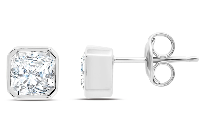 CRISLU OPULENCE STUD FINISHED IN PURE PLATINUM- 2.0 CARAT