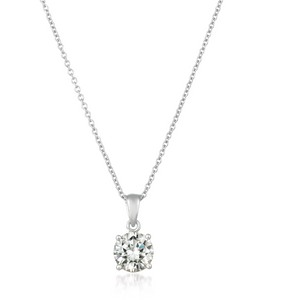 CRISLU ROYAL BRILLIANT CUT PENDANT NECKLACE FINISHED IN PURE PLATINUM- 1.60 CARAT