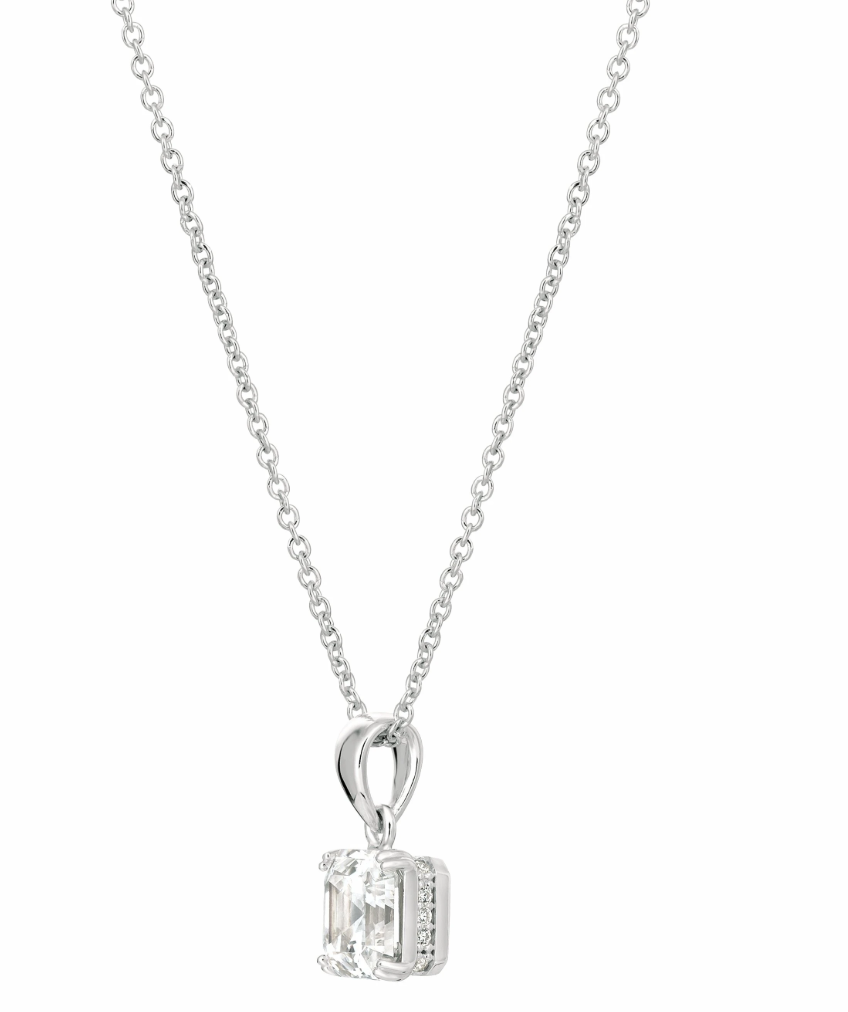CRISLU ROYAL ASSCHER CUT PENDANT NECKLACE FINISHED IN PURE PLATINUM- 2.10 CARAT