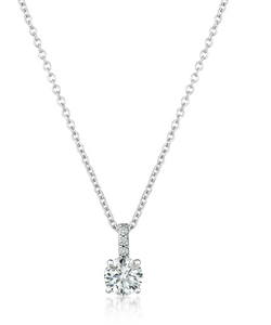 CRISLU ACCENTED BRILLIANT PENDANT NECKLACE FINISHED IN PURE PLATINUM- 1.05 CARAT