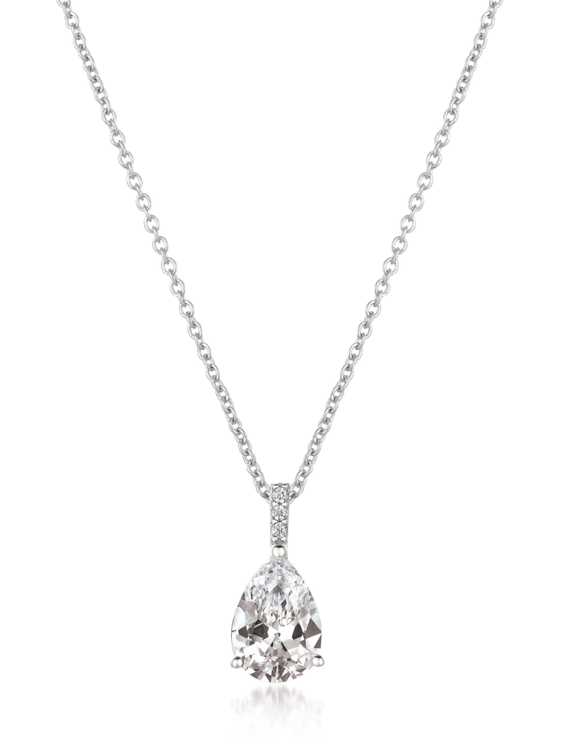 CRISLU ACCENTED PEAR PENDANT NECKLACE FINISHED IN PURE PLATINUM- 2.30 CARAT