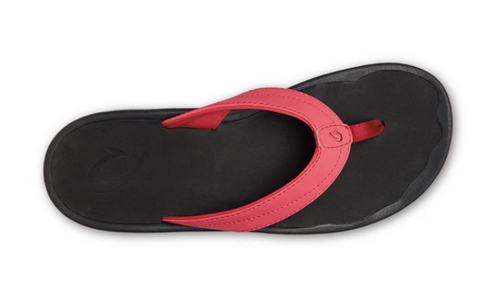 OLUKAI OHANA WOMENS LEATHER SANDAL IN PASSION FLOWER/BLACK