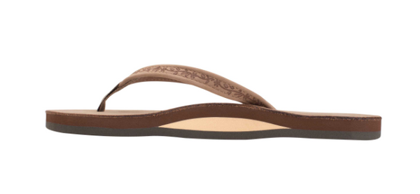 "RAINBOW WOMEN'S LAS FLORES SINGLE LAYER PREMIER LEATHER WITH A FLORAL 1/2"" NARROW STRAP DARK BROWN SANDAL"