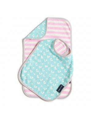 chirping chicks reversible bib/burb set