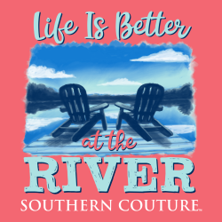 LIFE IS BETTER AT THE RIVER CORAL SHORT SLEEVE
