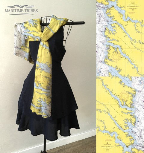 CHESAPEAKE BAY NAUTICAL CHART SCARF