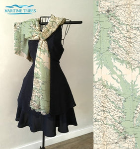 CHESAPEAKE BAY SEA GLASS NAUTICAL SCARF