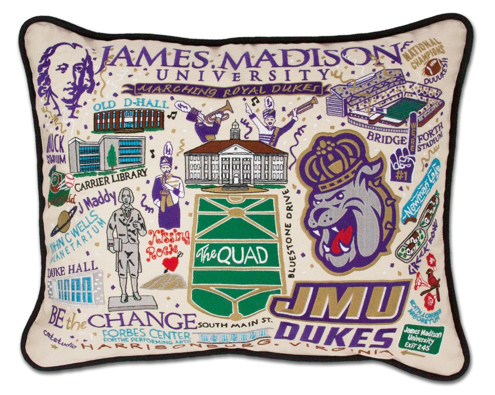 JAMES MADISON UNIVERSITY HAND EMBROIDERED PILLOW
