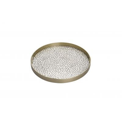 "BLACK DOTS 18"" ROUND DECORATIVE TRAY"
