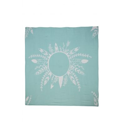 MINT FEATHER  MUSLIN BABY BLANKET