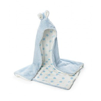 BUNNY HOODED BLANKET BLUE