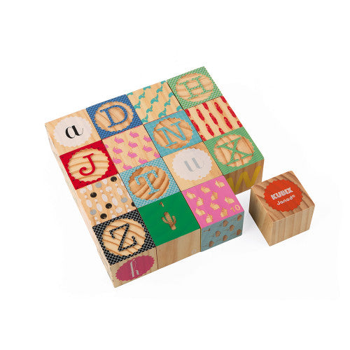 Janod Kubix 16 Carved Alphabet Blocks (Wood)