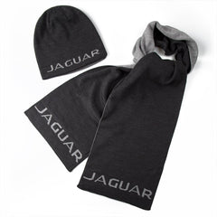 JAGUAR HAT AND SCARF SET (Black and Charcoal) / ENSEMBLE TUQUE ET FOULARD