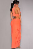 Orange Cascading Two Piece Skirt Set - Unmarked Style Clothing Store