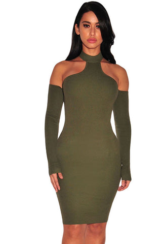 Army Green Choker Off Shoulder Dress