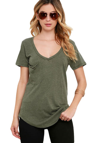 Army Green Basic Hem Pocket T-Shirt - Unmarked Style Clothing Store