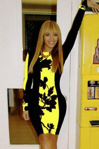 Black Yellow Leaf Print Colorblock Bodycon Midi Dress - Unmarked Style Clothing Store