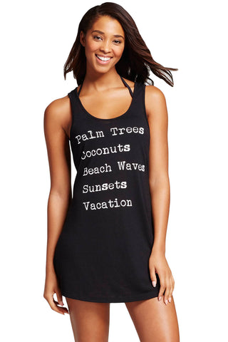 Black Tank Swim Cover Up Dress - Unmarked Style Clothing Store