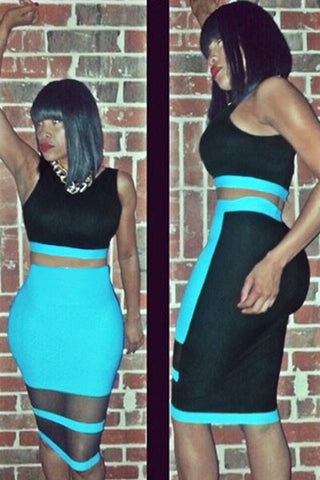 Black Mint Skirt Set With Mesh Inset - Unmarked Style Clothing Store