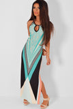 Blue Multicolor Side Split Maxi Dress - Unmarked Style Clothing Store