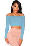 Blue Off-The-Shoulder Knit Crop Top - Unmarked Style Clothing Store