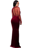 Burgundy Mesh Mermaid Prom/Evening Dress - Unmarked Style Clothing Store
