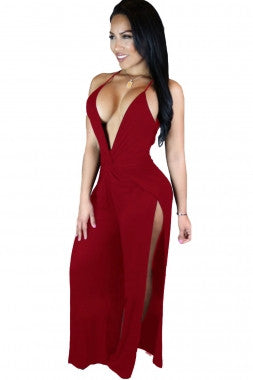 Burgundy Party Slit with Twist Abdomen
