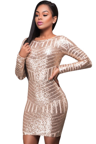 Champagne Long Sleeves Cut out Back Sequin Dress - Unmarked Style Clothing Store