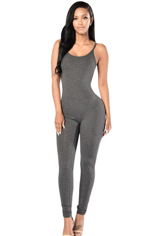 Gray Simple Stretch Jumpsuit - Unmarked Style Clothing Store