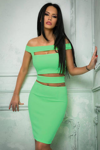 Green Chic Cutout Off Shoulder Skirt Set - Unmarked Style Clothing Store