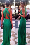 Green Cross Back Prom Maxi Dress - Unmarked Style Clothing Store
