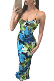 Green Floral Print Sting Tie Maxi Dress - Unmarked Style Clothing Store