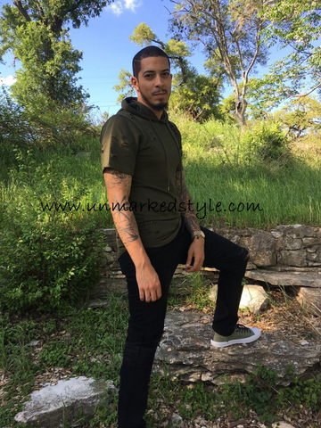 Olive Short-Sleeve Scalloped Hoodie with Ripped Detailing - Unmarked Style Clothing Store