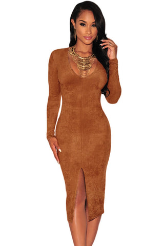 Mocha Faux Suede Long Sleeve Dress - Unmarked Style Clothing Store